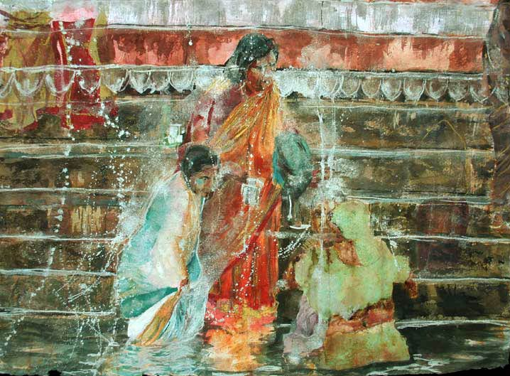 Lee Lee watercolor painting of Varanasi India