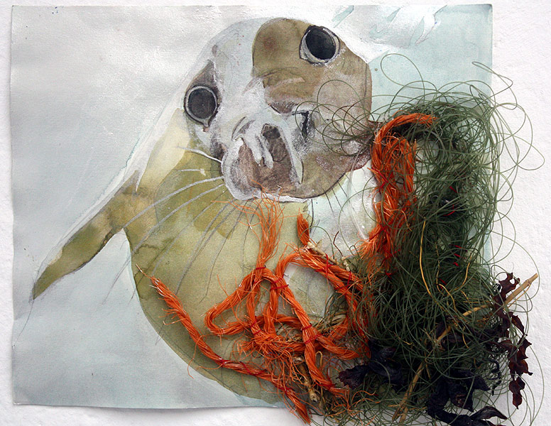 Lee Lee painting of harbor seal & debris