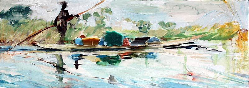 Painting of a dugout canoe in the Okavango Delta by Lee Lee