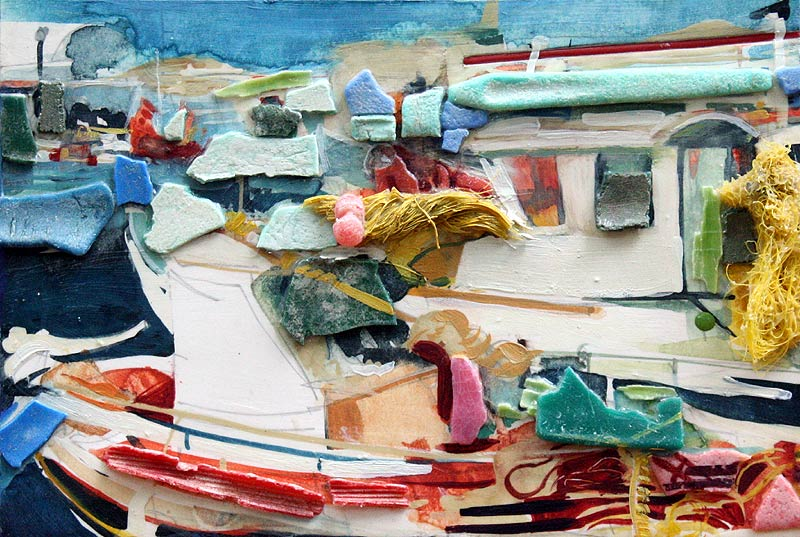 Consuming Plastic painting of Greek Fishing boats