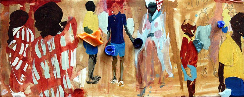 Painting of Kenyan students by Lee Lee
