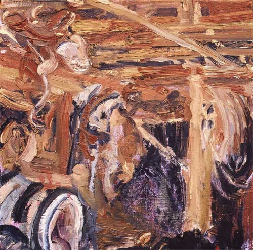 tack shed oil painting by Lee Lee