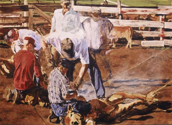Oil painting of cowboys be Lee Lee