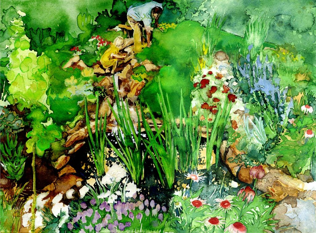 Waterfall - Garden Watercolor by Lee Lee, Haiku by Peter T Leonard