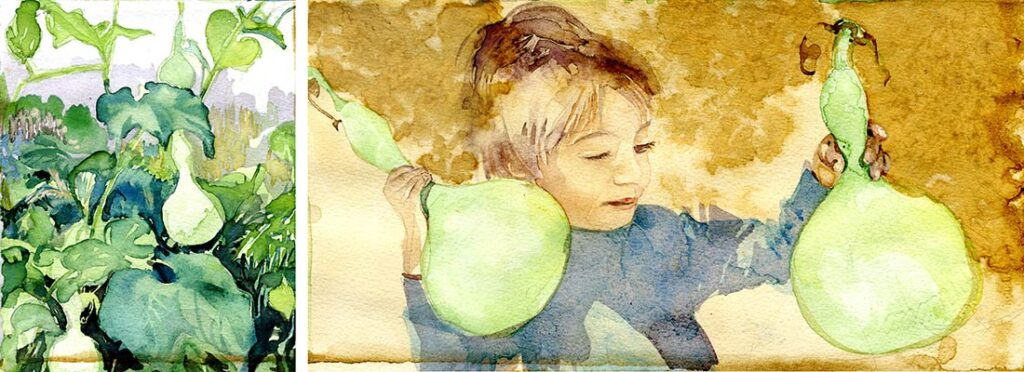 Calabash - Garden Watercolor by Lee Lee, Haiku by Peter T Leonard