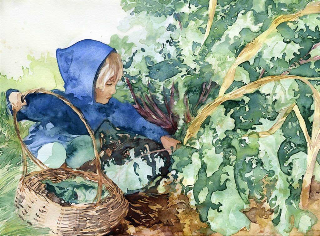 kale - Garden Watercolor by Lee Lee, Haiku by Peter T Leonard