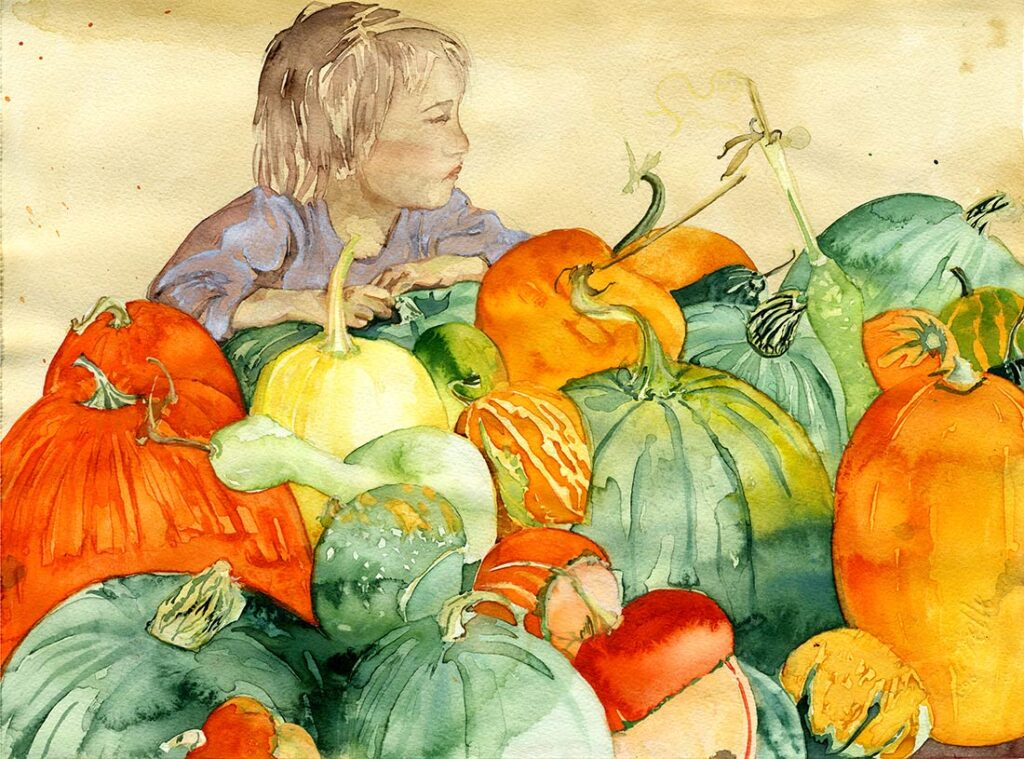 winter squash - Garden Watercolor by Lee Lee, Haiku by Peter T Leonard