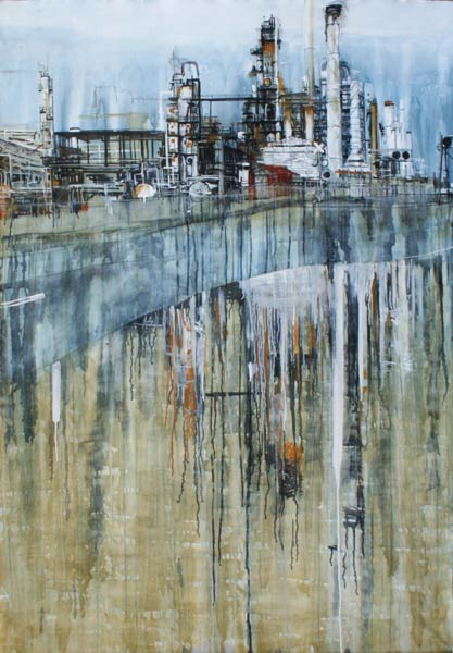 Oil refinery in Commerce City, painting by Lee Lee