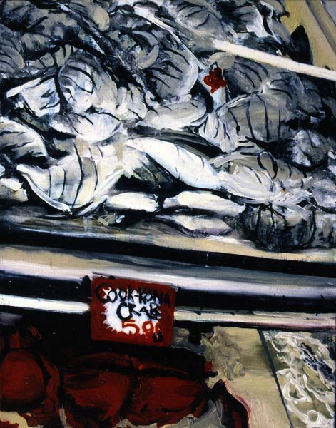 Fish market in Honolulu - oil painting by Lee Lee