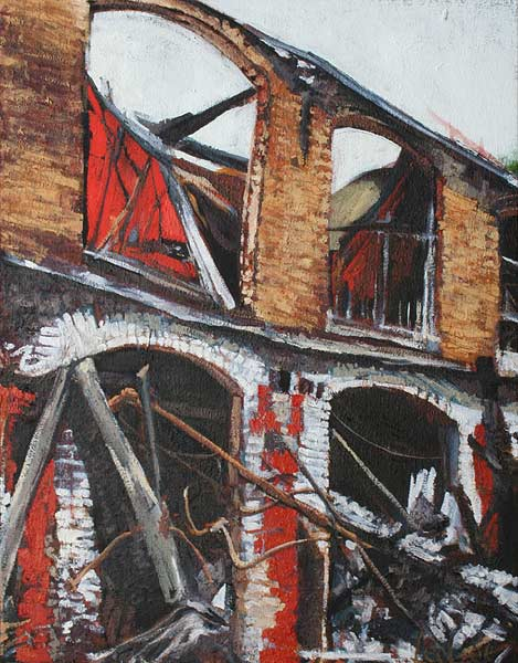 oil painting on burlap of abandoned cotton mill by Lee Lee