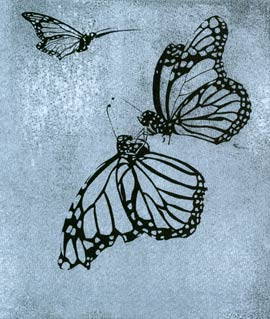 Lee Lee monoprint of monarch butterflies