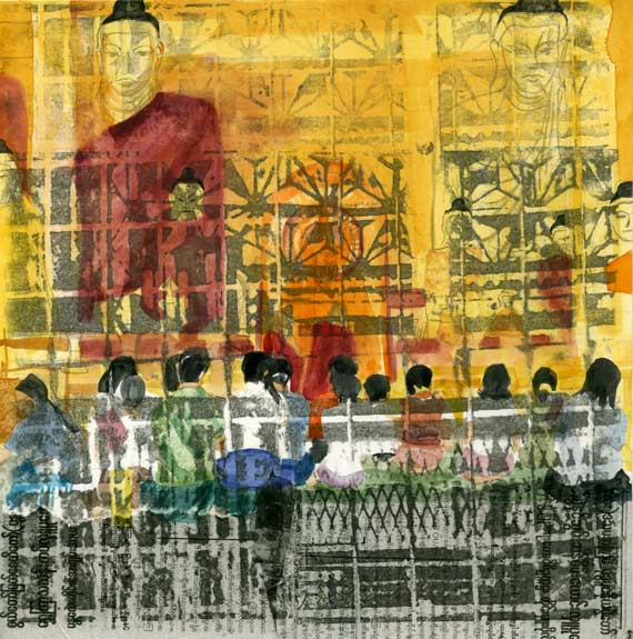 mixed media painting from Myanmar by Lee Lee