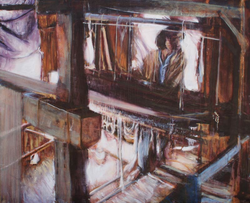 Oil painting of Inle Lake cottonweavers, Burma by Lee Lee
