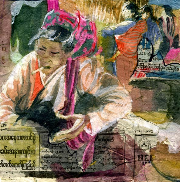 Intha Market, Burma watercolor by Lee Lee