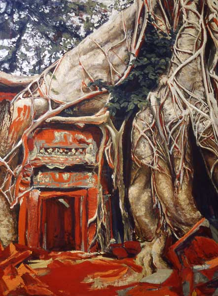 Painting of Ta Prohm temple in Angkor Wat, Cambodia by Lee Lee