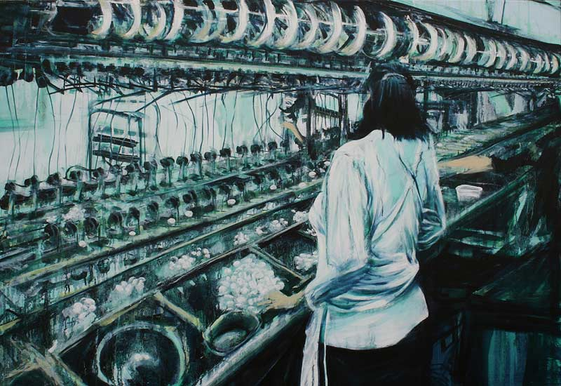 Lee Lee: oil painting of silk mill in China