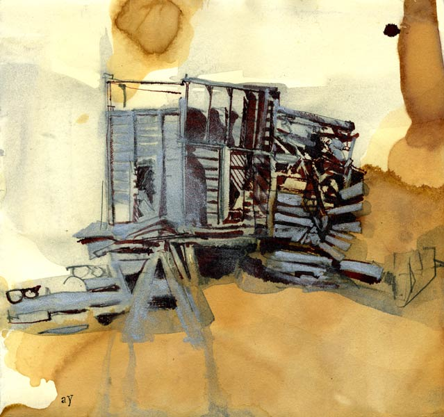 drawing of the Leadville mines by Lee Lee