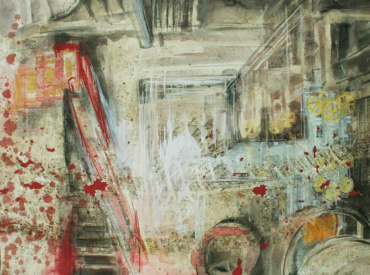 mixed media painting of a slaughterhouse by Lee Lee